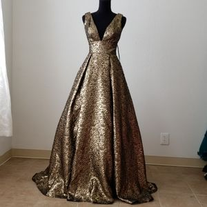 Copper Black Textured A-Line Gown